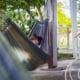 Man lying in hammock