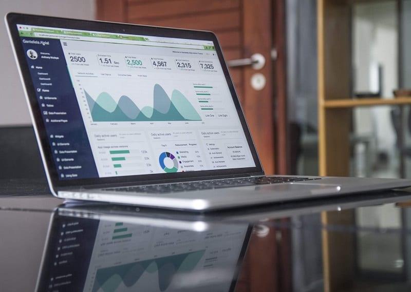 Computer showing statistics