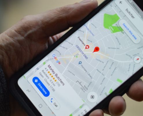 Mobile phone showing google maps