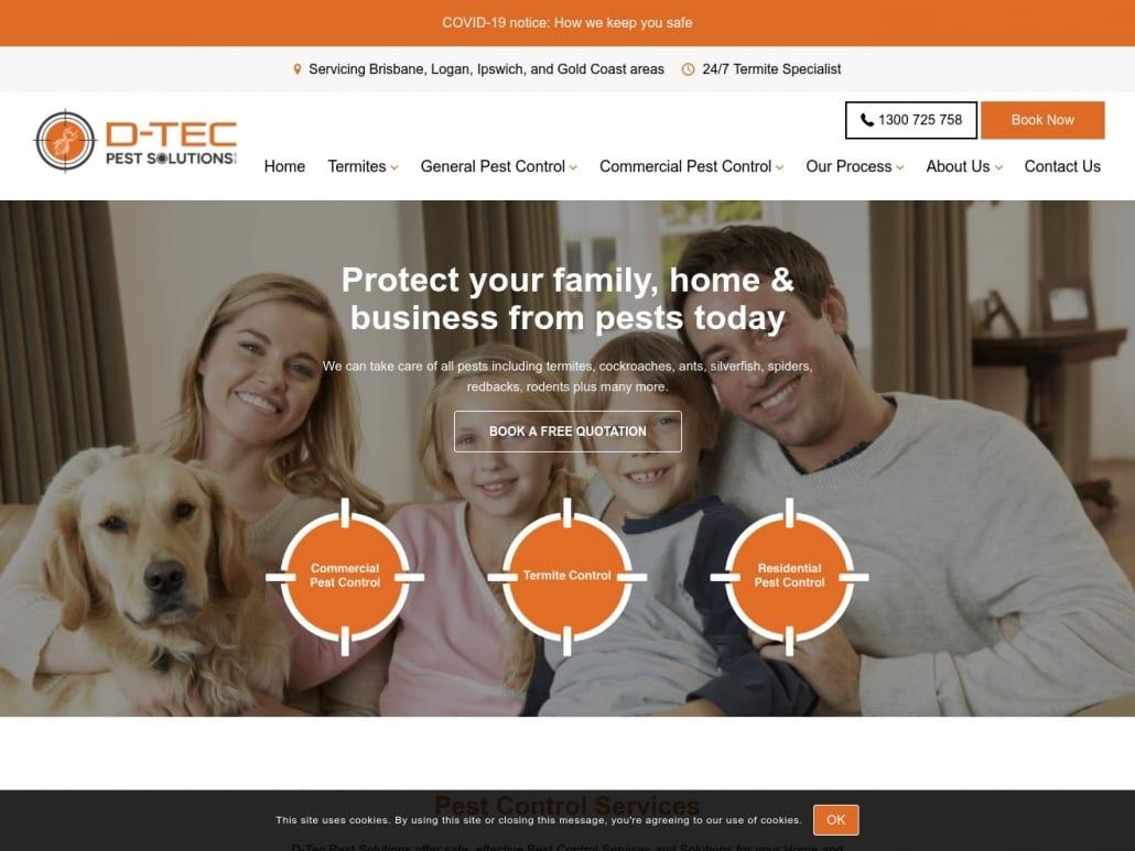 D-Tec Pest Control home page