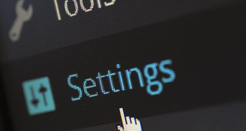 Settings tab on wordpress dashboard